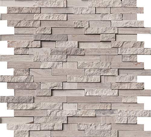 M S International White Quarry Marble Split Face Tile for Kitchen Backsplash, Wall Tile for Bathroom, Accent Wall Tile, Shower Wall Tile, 12 in. x 12 in. Mesh-Mounted Mosaic Tile, (10 sq. ft.)
