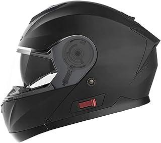 Casco Moto Modular ECE Homologado - YEMA YM-926 Casco de Moto Integral Scooter para Mujer Hombre Adultos con Doble Visera-Negro Mate-S
