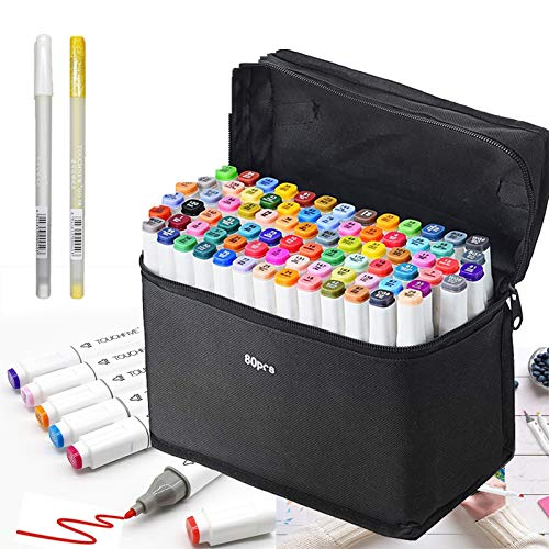 80 Farbige Marker Stifte Set, Graffiti Stifte Manga Sketch Pens, Drawing Sketch Studenten Kunstler Design Schule Drawing art Supplies(weißen+Kostenloses Geschenke Pens)