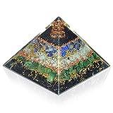 New Orgone Pyramid for Healing Heart   Black Tourmaline   Lapis Lazuli   Amazonite   Green Jade Orgonite Pyramid for EMF Protection - Crystal Chakra Stone Pyramid