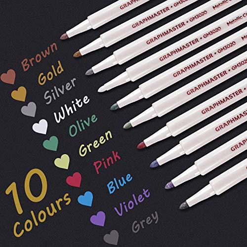 Metallic Stifte Glitzerstifte Satz von 10 Farben Metallic Marker Stifte für Gästebuch Hochzeit Holz Bemalen Schwarzes Papier Scrapbook Glas Fotoalbum Karten Kunst Fotobuch Kunststoff 1mm Spitze