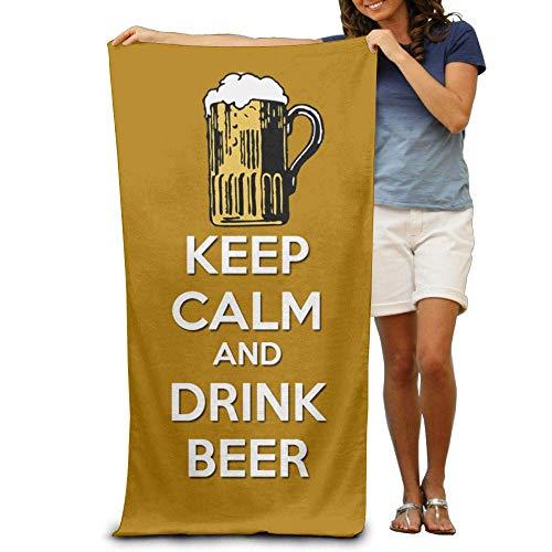 KIMIOE Toalla Toalla de Playa Keep Calm Drink Beer Beach Towels Premium Soft Eco-Friendly Printing Design Outdoors Beach,Non-Toxic décor 31'x 51'in