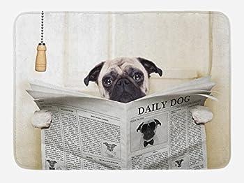 Ambesonne Pug Bath Mat Puppy Reading The Newspaper on The Toilet Bathroom Funny Image Pug Joke Print Plush Bathroom Decor Mat with Non Slip Backing 29.5  X 17.5  Cream Black