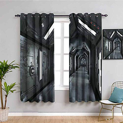 Outer Space Decor Black out window curtain 2 panel Dark Futuristic Corridor of Spaceship Adventure Technology Sci Fi Art Prints Room darkened Dark Grey W52 x L63 Inch