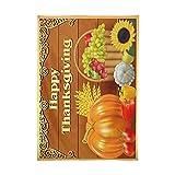 Mantel XIANGYANG de Acción de Gracias,Canasta de Frutas y Estampado de Calabaza,Mantel de Tela Resistente al Hierro y a Las Manchas,Cuadrado de 60 'x 60'