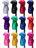 SATINIOR 12 Pieces Silky Durag Caps Soft Long Tail Headscarf Elastic Wide Straps Headwraps for Women Men Favors, 12 Colors (Classic Assorted Colors), Medium