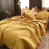Yuerong Tagesdecke Bettüberwurf,Crystal Velvet 3 Stück Bettlaken Kissenbezug, einfarbig bestickte Doppelbettdecke, Spitze Gesteppte Decke,Gelb,220x240cm