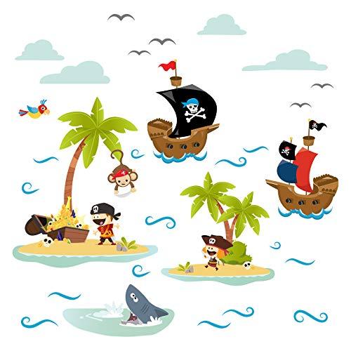 Little Deco Wandtattoo Piraten Schiffe & Schatzinsel I Wandbild 120 x 54 cm (BxH) I Motiv 1 Aufkleber Kinderzimmer Junge Babyzimmer Deko Wandaufkleber Baby Sticker DL333