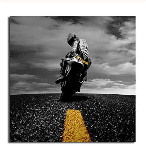 ASLKUYT Valentino Rossi Tapete Leinwand Poster Drucke Wandkunst Gemälde Dekoratives Bild Motivierende Zitate Raum Garage Home Decor-50x50cm Kein Rahmen