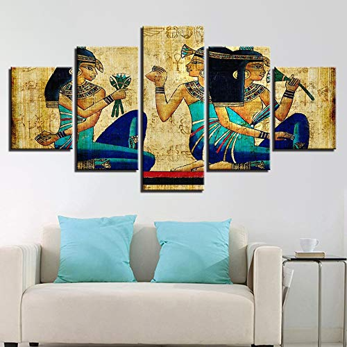 5D DIY pared arte impresiones decoración del hogar 5 paneles antigua chica egipcia moda diamante pintura cuadros modulares para sala de estar