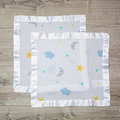Lulujo Baby Cotton Muslin Security Blankets, Pack of 2, 16 x 16-Inches, Dreamland
