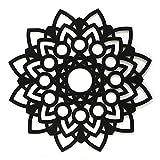 Cuadro Mandala Calada de Pared -Fabricado en Madera Artesanalmente en España - Cuadro Decoración para Salón, Dormitorio, Baño (Negro, 1 unidad 80x80 M51)