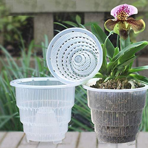 Set di 4 pz, vaso di fiori trasparente per di orchidee, con foro traspirante, fioriera in plastica per decorazioni da scrivania o da giardino, Come da immagine, 15 cm