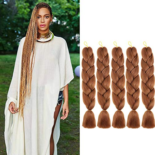 Jumbo Braiding Hair kanekalon Ombre Braids Hair Synthetic Braiding Hair Extension for Box Twist Braiding 24 Inch 5Pcs/Lot 100g/Pc (Light-Brown)