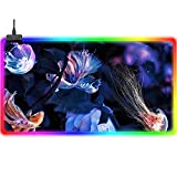 Gaming Mouse Pads Cartoon Jellyfish Cute RGB Gaming Mouse Pad Blue Large Extended LED Mouse Mat Improves Precision and Speed Backlit Computer Keyboard Pad USB Ports Oversized Laptop Pad 35.4x15.7Inch
