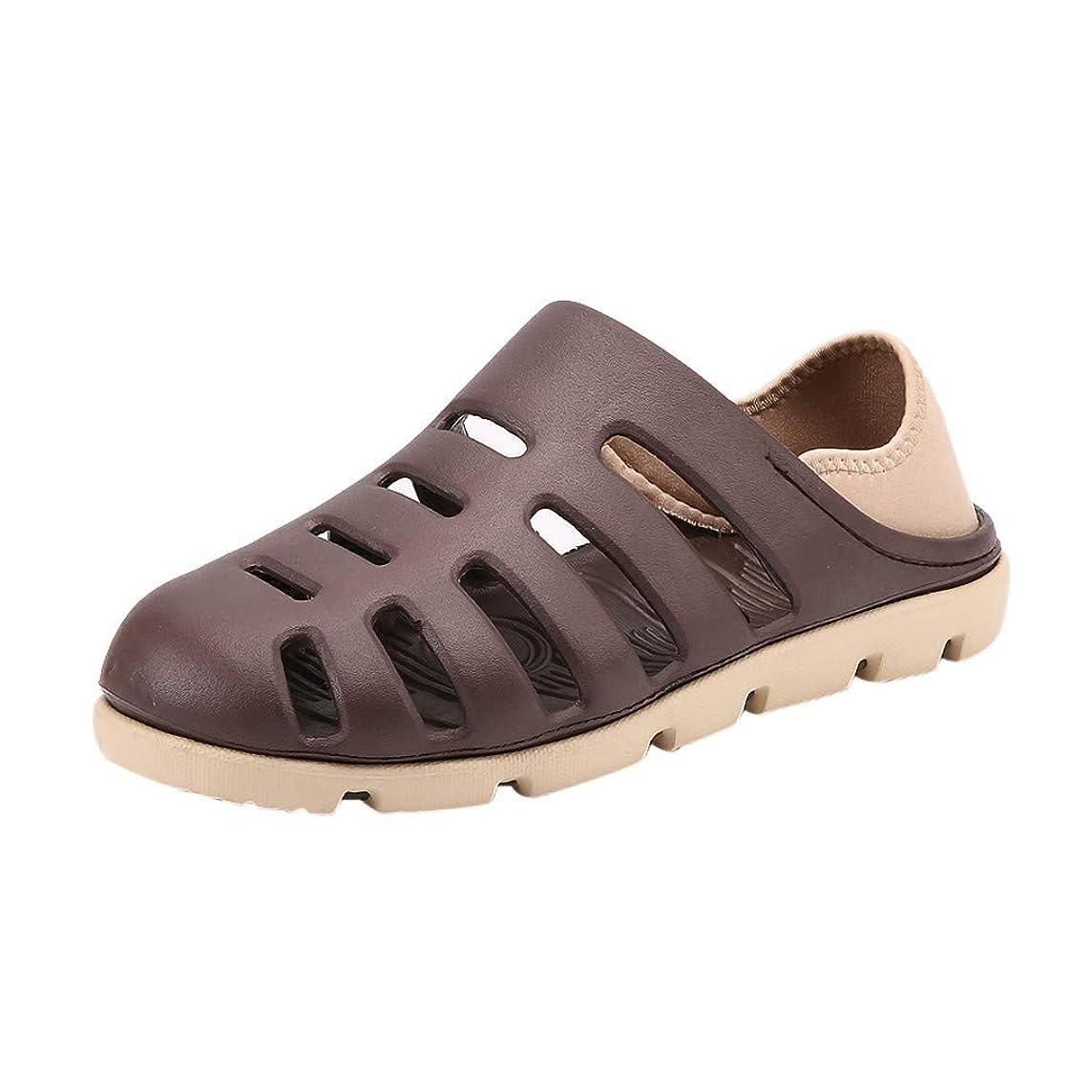 Sunhusing Summer Men's Flat Bottom Breathable Antiskid Light Slippers Beach Hollow-Out Hole Shoes Sandals