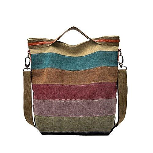 Preisvergleich Produktbild Defeng Canvas Schultertasche Umhängetasche Bunte Streifen Handtasche Messenger Damenhandtasche (Multi-B066)