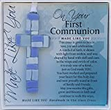 First Communion Gift for Boy - Handmade in USA Blue Mosaic Glass Cross with Sentiment