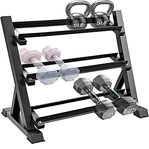 Dumbbell Rack, Feikuqi Adjustable Width Weight Rack fits Different Dumbbells, 3-Tier Strength Training Storage Weight Stand for Home Gym