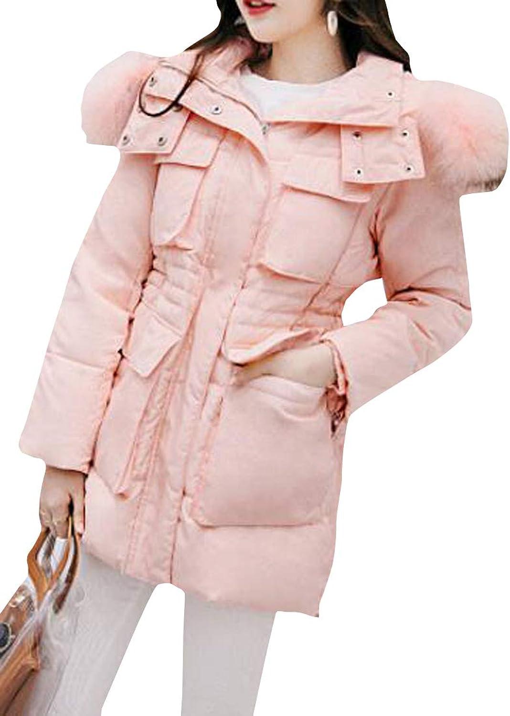 Pandapang Women's Faux Fur Collar Warm Hoodie Winter Outwear Down Parkas Coats
