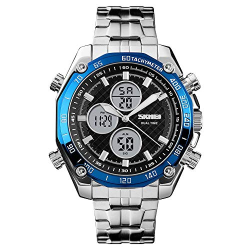 Diommest Men's Fashion Trend Elektronische Watch, Outdoor Leisure Multi-functie Dual Display Big Dial kwarts horloge Fashion Horloges voor mannen (Color : Style-E)