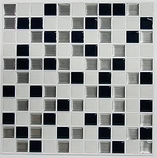 RoomMates StickTILES Black & White Mosaic Peel and Stick Backsplash Tiles - 4 Per Pack