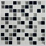 RoomMates StickTILES Black & White Mosaic Peel and Stick Backsplash...
