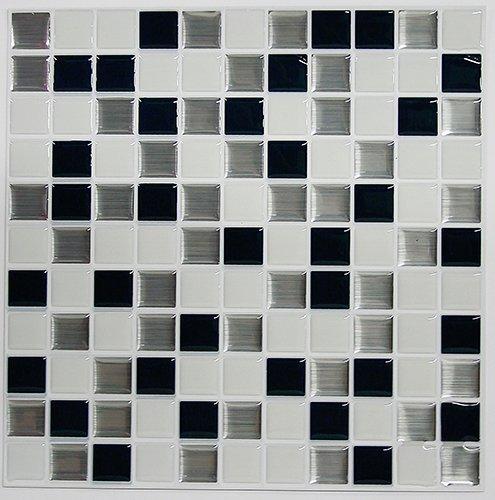 RoomMates Black & White Mosaic StickTILES, 10.5' X 10.5'