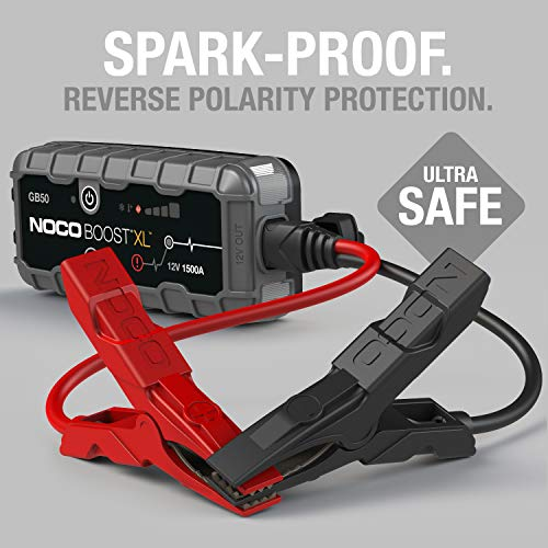 NOCO Boost XL GB50 1500 Amp 12-Volt UltraSafe Portable Lithium Jump Starter, Car Battery Booster Pack, And Jump Leads…