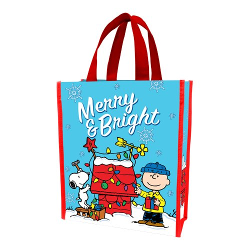Vandor 85373 Peanuts Merry and Bright Christmas Small Recycled Shopper Tote, Multicolor