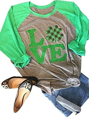 Anbech Love Clover Graphics Womens Shamrock St. Patrick Day Plaid Raglan 3/4 Sleeve Baseball Tee Tops