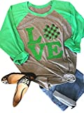 Anbech Love Clover Graphics Womens Shamrock St. Patrick Day Plaid Raglan 3/4 Sleeve Baseball Tee Tops (M, Gray)