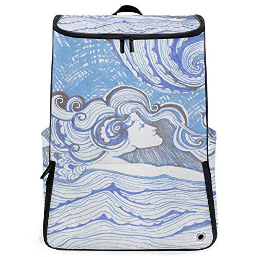 YUDILINSA Viaje Mochila,Sirena Pequeña Acuarela Natación Surf Texto,Universitaria Mochila,Laptop Backpack con Compartimento para zapatos