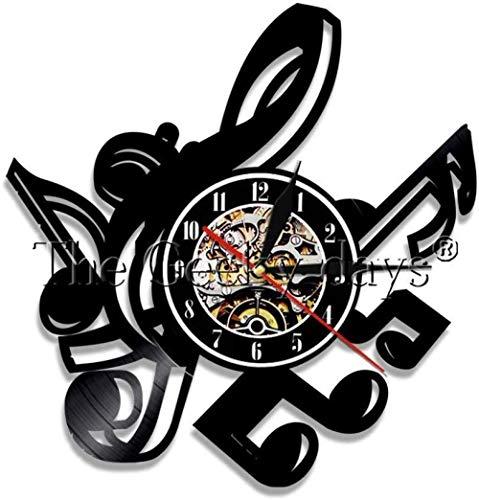 ClockHM Nota Musicale Annotazione di Vinile Vintage Orologio da Parete Orologio da Parete Creativo Orologio Decorazioni per la casa retrò Regalo Fatto a Mano Art Music Lover 12 Pollici