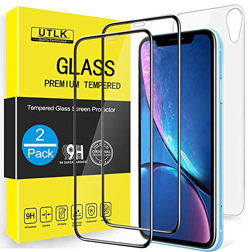 UTLK 3D Full Screen Coverage Screen Protector for iPhone XR,[2 Front+1 Back ] [6.1 inch],HD Clear Tempered Glass Screen Protector for iPhone XR / 10R, Case Friendly