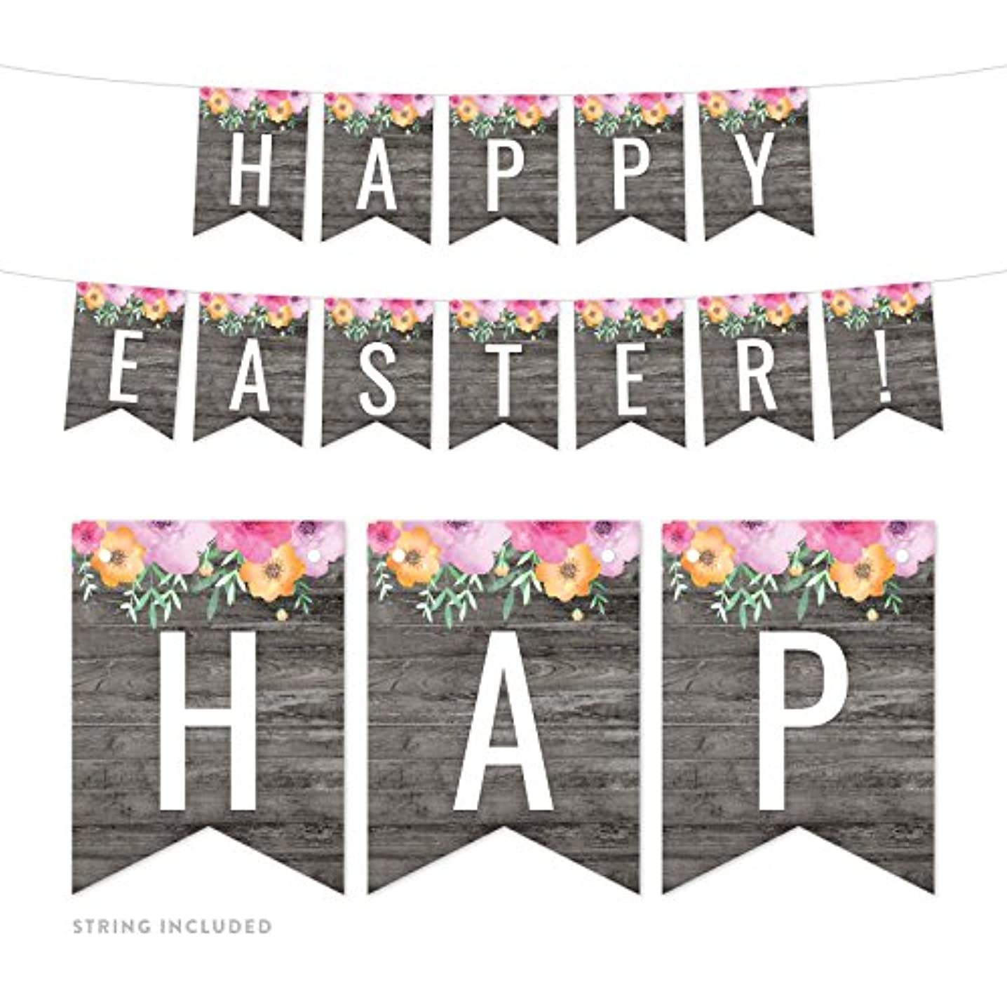 Andaz Press Modern Gray Wood with Flowers Party Banner Decorations, Happy Easter!, Approx 5-Feet, 1-Set, Floral Colored Hanging Pennant Decor