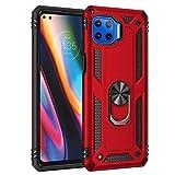 KERUN Hülle für Motorola Moto G 5G Plus Hülle mit 360 Grad Ring Halter, Armor Handyhülle [PC+TPU] Hybrid Bumper Schutzhülle [Funktioniert Mit Magnetischer Autohalterung]. Rot