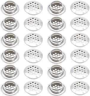 Stainless Steel Air Vent Louver, Saim 25mm Bottom Diameter Slope Round Perforated Mesh Cabine Cupboard Hole Air Vent Cover Louver for Kitchen, Cupboards, Garderobe, 24 Pcs