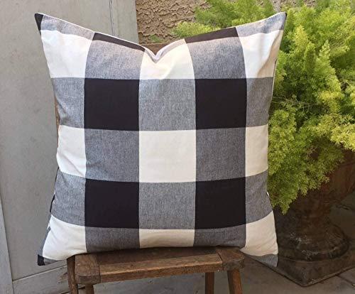 8Jo6Poe Black and White Buffalo Farmhouse Pillow Cover Design Christmas 18x18 inches Lumbar Vintage Indigo Mud Cloth Best Present for Mother's Day Parents Housewarming Modern Sofa Bedding Decor