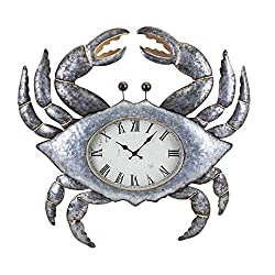 "CC Home Furnishings 27.25"" Metallic Silver and Gold Coastal Style Crab Decorative Metal Wall Clock"