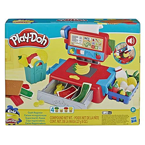 Play-Doh Supermarkt-Kasse Spielzeug für Kinder ab 3 Jahren mit lustigen Geräuschen, Zubehör und 4 Farben