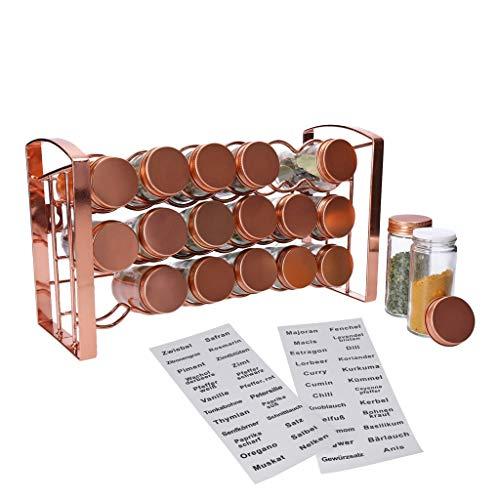 GEORGES Gewürzregal mit 18 Gläsern zum Aufstellen oder Aufhängen (Rosé Gold)