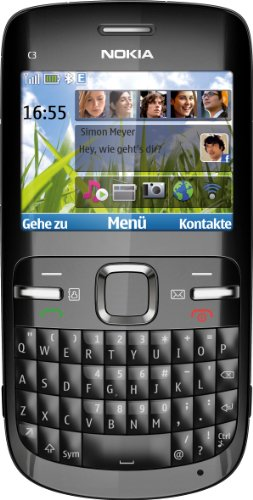 Nokia C3-00 Smartphone (6.1 cm (2.4 Zoll) Bildschirm, Bluetooth, 2 Megapixel Kamera) black