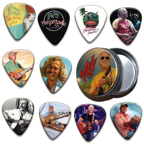 Jimmy Buffett 10 X Guitar Púa Para Guitarra In Tin ( Ltd To 200 )