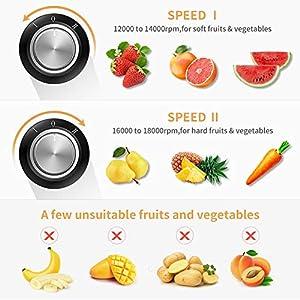 Entsafter Zentrifugaler 2 Geschwindigkeit 600W Juicer mit 65mm große Einfüllöffnung Überhitzungsschutz und Überlastschutz für Obst und Gemüse 500 ml Saftbehälte mit Bürste BPA Frei von ELEHOT (Silber)