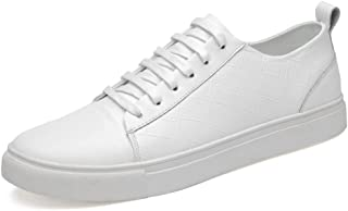Ranipobo Men's Casual Lace Up Sports Shoes Fashion Skater Sneakers Classic Low Top Comfortable PU Leather for Men (Color : White, Size : 5.5 UK)