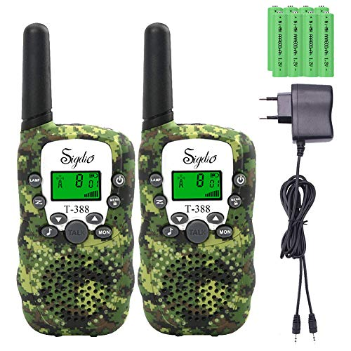 Sigdio T-388 Walkie Talkies per Bambini PMR 446 Walky Talky con 8 Pezzi Batterie Ricaricabili e Caricabatterie Ricetrasmittente per Bambini Walkie Talkie Torcia VOX 8 Canali 0,5 W (Camouflage)