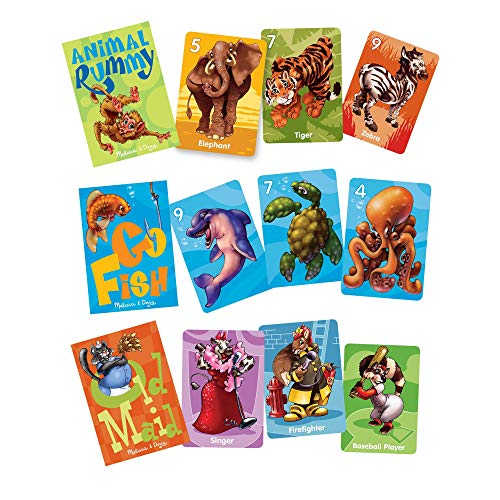 Melissa & Doug Classic Card Games Set - Old Maid, Go Fish, Rummy, Great Gift for Girls and Boys  Best for 3, 4, 5, 6, 7 and 8 Year Olds