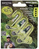 Perfection Lures Shaky Head - Patented Stand-Up Design with Titanium Arms - Designed by Pro Bass Fishing Angler David Dudley (Black 1/8)