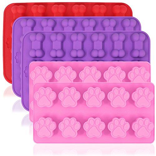 aifuda 5Stück Silikon Schokolade Candy Formen, Puppy Paw & Bone Antihaft Backen Formen Ice Cube Tabletts, um Gumdrop Jelly Kuchen Muffin Cupcake–Pink, Violett, Rot